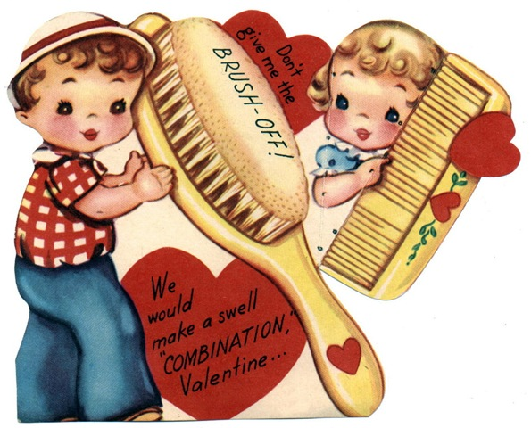 free vintage valentine card boy and girl dont give me the brush off